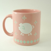 Vintage Waechtersbach West Germany Stoneware Coffee Mug, Dusty Pink Rose Color with White Pig and Green Decorations