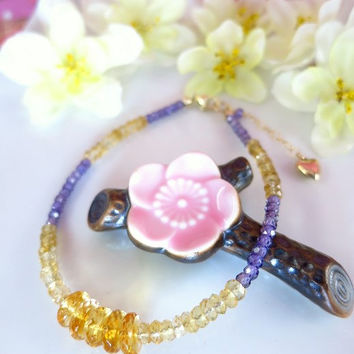 Lakers gold and purple bracelet, Citrine and lavender zircon rondelle gold bracelet