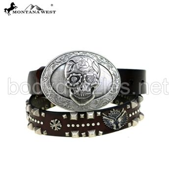 Brown Montana West Sugar Skull Buckle Collection Belt