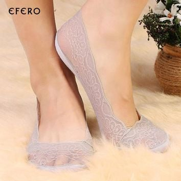 5Pairs Women's Lace Antiskid Invisible Sock Female Liner Low Cut Socks Slippers No Show Socks Women Boat Socks Meias Femininas
