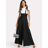Black Strap Sleeveless Wide Leg Jumpsuit