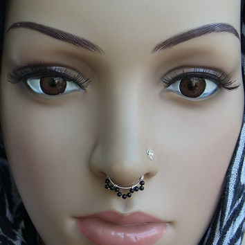 Onyx Beads Septum Ring - Non Piercing