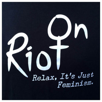 Riot On black t shirt screen printed  logo and slogan with white ink
