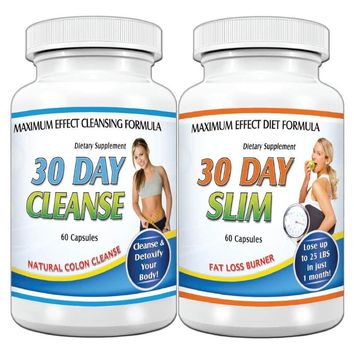 30 Day Slim Trim and Cleanse Detox Maximum Diet Rapid Weight loss Fat Burn System Kit