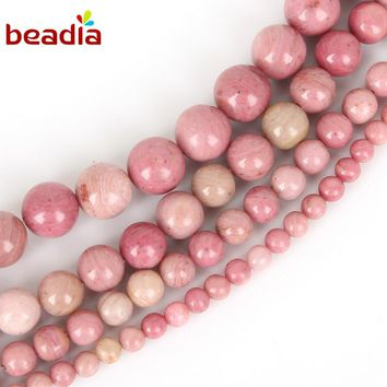 New Arrival Dia 4/6/8/10mm Hole 1mm 38-95pcs Natural Rhodochrosite Stone Beads For DIY Bracelet Necklace Jewelry Making