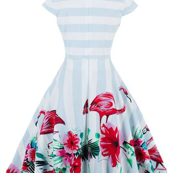 Women Vintage Pinup Rockabilly Flamingo Pattern Casual Work Short Dresses Wiggle Party Dress