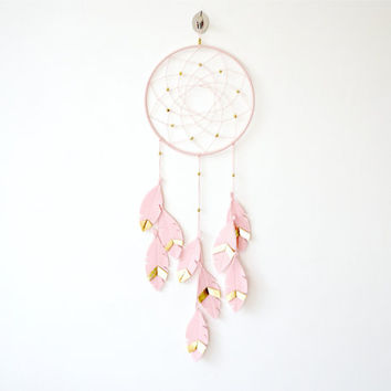 Pink Gold Dream Catcher, Dream Catcher wall hanging,  Pink Dreamcatcher, Girl nursery decor, Nursery Decor Idea, nursery wall decor