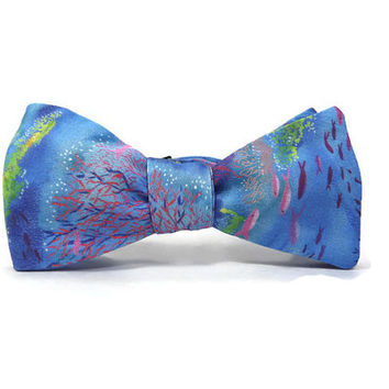 Coral reef bowtie, Aqua blue ocean, nautical bowtie, oceanography, ocean bowtie, bright underwater scene, scuba gift, under the sea bowtie