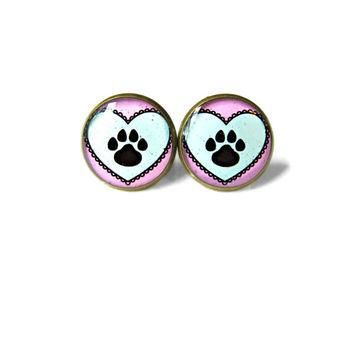Conversation Heart Paw Print Earrings - Pro Animal Rights Vegetarian Animal Lover Jewe