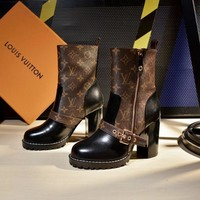 2020 new office LV Louis Vuitton Trending Women Fashion Print Heels lace up Ankle low top boots shoes best quality