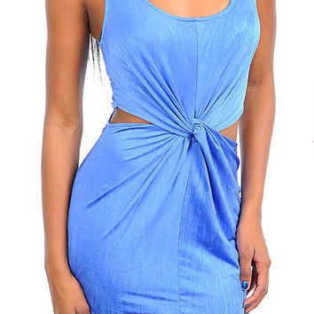 Gathered Waist Cut-Out Dress in Blue