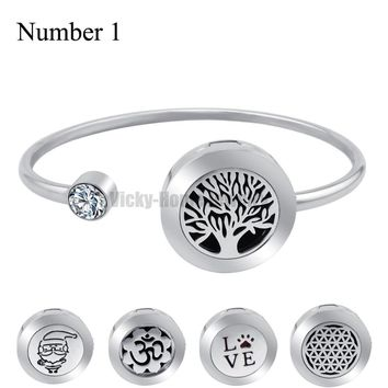 20mm With Magnet Can Wiggle Up and Down Aroma Locket Stainless Steel Bangle Essential Oils Diffuser Locket Bracelet (Dropship)