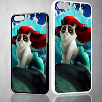 Grumpy Cat And Disney The Little Mermaid Z0023 iPhone 4S 5S 5C 6 6Plus, iPod 4 5, LG G2 G3, Sony Z2 Case
