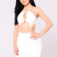 I'm Outside Halter Dress - White