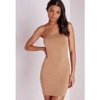 Jersey Bandeau Bodycon Dress Camel - Dresses - Bodycon Dresses - Missguided