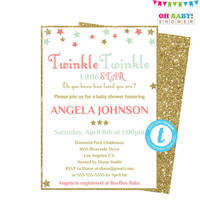 Coral Mint Baby Shower, Twinkle Twinkle Little Star Baby Shower Invitation, Editable Template, Coral Mint Gold, Printable Download, STCMG