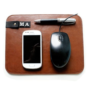 Personalized Leather Mouse Pad, Office Leather Accessories, Leather Mouse  Mat, Leather Macbook,