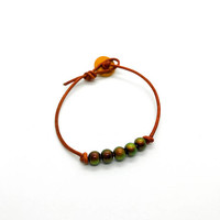 Orange leather mood bead bracelet