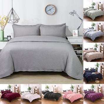 Classical Pure Color Bed Linen Comfortable Cotton Duvet Cover&Pillowcase Soft Bedding Set Twin/Queen/King Size