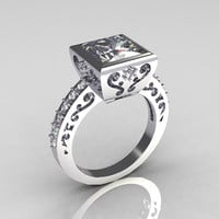 Classic Bridal 10K White Gold 2.5 Carat Square Princess White Sapphire Wedding Ring R309-10WGWS
