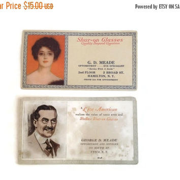 CLEARANCE Antique Eyeglass Advertisements, Advertising Ephemera, Paper Ephemera, Antique Ephemera