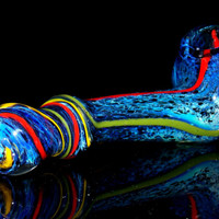 Dark Galaxy Frit Blue Black Glass Corn Cob Style Gandalf Smoking Pipe - Heavy, Thick Silver Fumed Color Changing Piece with Rainbow Stripes