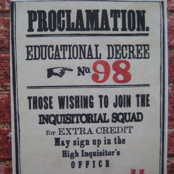 Dolores Umbridge Educational Decree Posters in miniature by LittleWooStudio on ETSY
