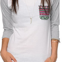 Sirens & Dolls Geo Tribal Pocket Baseball Tee