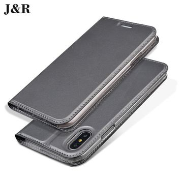 J&R Luxury Leather Case for iPhone X Flip Cover For iPhone 10 iPhoneX 5.8 Inch Business Book Phone Case With Stand Card Holder