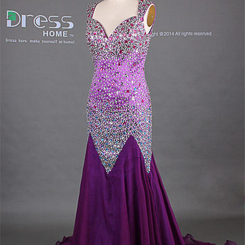 Luxury Purple Sweetheart Heavy Beading Long Mermaid Prom Dress/Sexy Evening Party Dress/Unique Wedding Reception Dress/Special Dress DH270