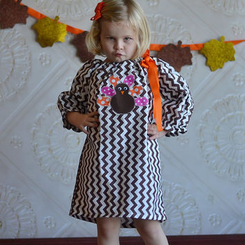 Thanksgiving Turkey Hand Appliqued Brown and White Chevron Peasant Dress/Thanksgiving Dresses/Boutique Dresses/Girls Dresses/Toddler Dresses