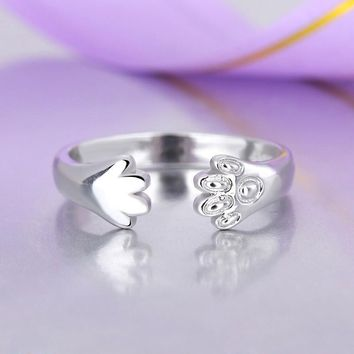 Casual Delicate Tiny Cute Cats Paw Open Ring