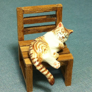 Miniature Ceramic Cat Kitty Sleeping On Wooden Chair Animal Cute Little Tiny Small Brown Figurine Statue Decoration Collectible Hand Painted