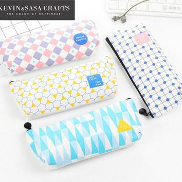 1Pc Canvas Pencil Cases Students Pencil Box Stationery School Supplies Pencilcase Students Simple Geometry Pattern Kawaii Gift