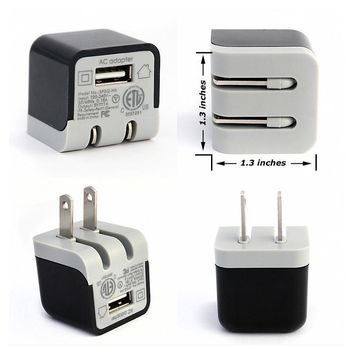 Ultra-Compact Home and Travel Wall Charger with 5 Watt/1 Amp USB Port (2-Pack)
