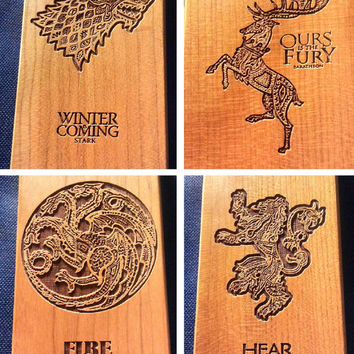 Game of Thrones Wood Phone Case - Houses Baratheon Lannister Stark Targaryen Inspired - iPhone 5 5s 6 plus Samsung s5 s6 - 12
