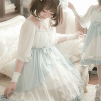 White and Blue Dreamy Soft Tulle Dress SD00427
