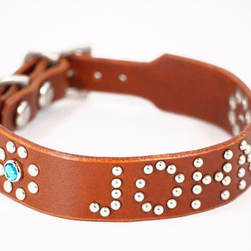 Leather dog collar lightweight with by SunGoddessCollars on Etsy