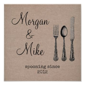 Custom couple name spooning since kitchen burlap poster