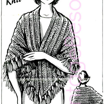 EASY KNIT Instant Download Pdf Womens 1970s Vintage Knitting Pattern Mail Order QUICK Knit Shawl