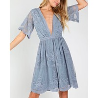 as you wish embroidered lace mini dress - dusty blue