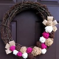 Burlap Rose Wreath on Grapevine for Front Door or Wall Shabby Chic Rustic Fall