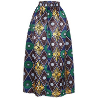 African Print Ankara Dashiki Bohemian High Waist Pleated A-Line Maxi Flare Skirt in Green