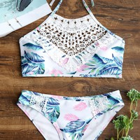 Sexy Floral Cheeky Lace Bikini Set Swimsuit Swimwear Bathing Suit