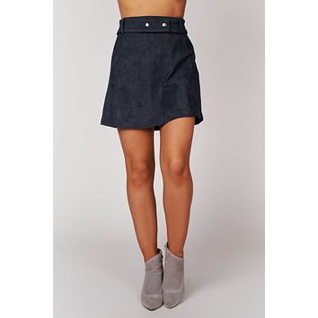 Not So Clueless Belted Suede Skirt (Navy)