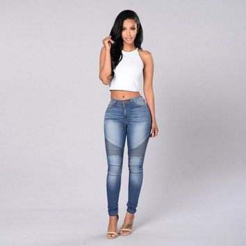 LMF78W Women Slim Fit Mid Waisted Elasticity Jeans Blue Skinny Denim Pencil Pants For Fashion Laies Girls #LSIW