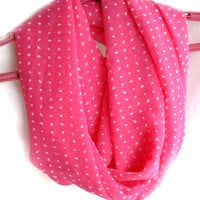 Pink Infinity Scarf. Polka Dot Circle Scarf. Loop Scarf. Women Accessories