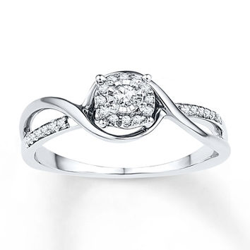Diamond Promise Ring 1/8 ct tw Round-cut Sterling Silver Ring