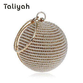 Taliyah Luxury Handbags Women Bags Designer 2018 Round Ball Beaded Evening Clutch Bags Women Wedding Chain Bag bolsa feminina