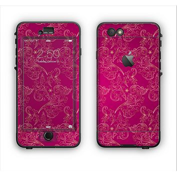 The Pink and Yellow Floral Vine Pattern Apple iPhone 6 Plus LifeProof Nuud Case Skin Set